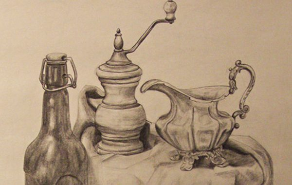 Still life with bottle, jug and grinder